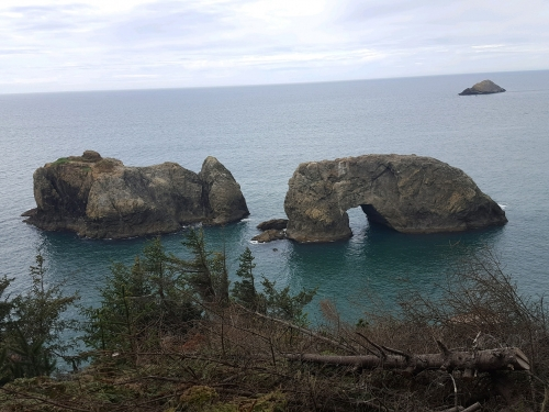 view of the arch rock from trail head above green and blue ocean water and trees